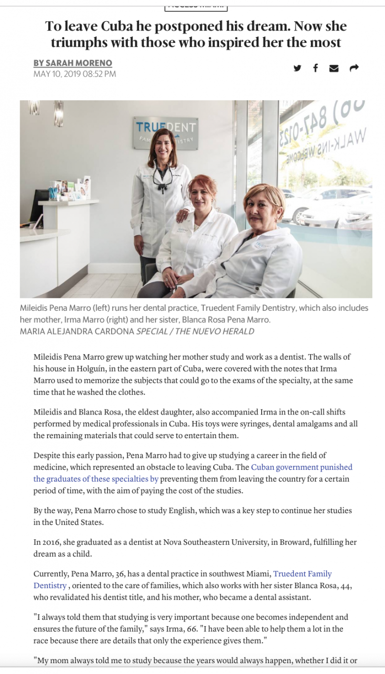 Client Truedent Family Dentistry featured in Miami Herald