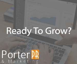 Image of an online advertisement on Porter PR & Marketing website that says Ready to Grow?
