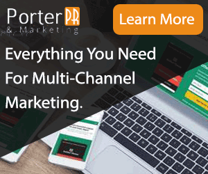 Image of an advertisement on Porter PR & Marketing promoting multi-channel marketing